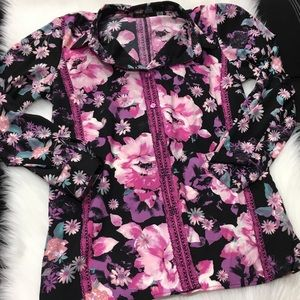 BOB MACKIE WEARABLE ART FLORAL BLOUSE MEDIUM